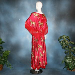 Crystal's Creations back view of red ballroom skirt & shawl created in red satin with cheetah print