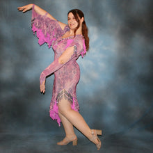 Load image into Gallery viewer, Crystal's Creations side view of orchid Latin Dress
