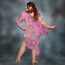 Load image into Gallery viewer, Crystal's Creations back view of orchid Latin dress
