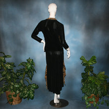 Load image into Gallery viewer, back view of Black ballroom dance top with cheetah ruffly neck & tie of luxurious black slinky and black Latin/rhythm flaired skirt with cheetah print slinky ruffly accents, which drapes down longer in the back. Great set for ballroom teachers!Tie on top can be worn open or closed.