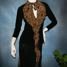 Load image into Gallery viewer, close upper  view of Black ballroom dance top with cheetah ruffly neck & tie of luxurious black slinky and black Latin/rhythm flaired skirt with cheetah print slinky ruffly accents, which drapes down longer in the back. Great set for ballroom teachers!Tie on top can be worn open or closed.