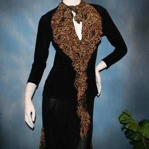 close upper  view of Black ballroom dance top with cheetah ruffly neck & tie of luxurious black slinky and black Latin/rhythm flaired skirt with cheetah print slinky ruffly accents, which drapes down longer in the back. Great set for ballroom teachers!Tie on top can be worn open or closed.
