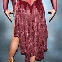 Load image into Gallery viewer, Crystal's Creations close up bottom view of Burgundy stretch velvet Latin/rhythm dress created on burgundy stretch mesh base with rose patterned clip/cut chiffon, is embellished with burgundy, fuchsia, antique rose, & orchid Swarovski rhinestone work & a touch of Swarovski hand beading.