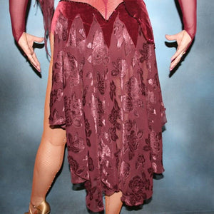 Crystal's Creations close up bottom view of Burgundy stretch velvet Latin/rhythm dress created on burgundy stretch mesh base with rose patterned clip/cut chiffon, is embellished with burgundy, fuchsia, antique rose, & orchid Swarovski rhinestone work & a touch of Swarovski hand beading.