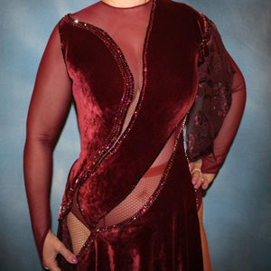Crystal's Creations close up view of Burgundy stretch velvet Latin/rhythm dress created on burgundy stretch mesh base with rose patterned clip/cut chiffon, is embellished with burgundy, fuchsia, antique rose, & orchid Swarovski rhinestone work & a touch of Swarovski hand beading.