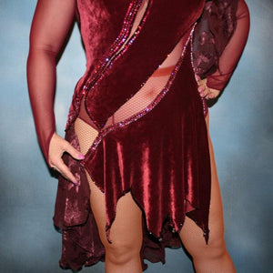 Crystal's Creations close up of Burgundy stretch velvet Latin/rhythm dress created on burgundy stretch mesh base with rose patterned clip/cut chiffon, is embellished with burgundy, fuchsia, antique rose, & orchid Swarovski rhinestone work & a touch of Swarovski hand beading.