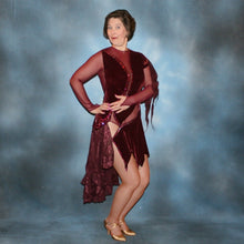 Load image into Gallery viewer, Crystal's Creations Burgundy stretch velvet Latin/rhythm dress created on burgundy stretch mesh base with rose patterned clip/cut chiffon, is embellished with burgundy, fuchsia, antique rose, & orchid Swarovski rhinestone work & a touch of Swarovski hand beading.