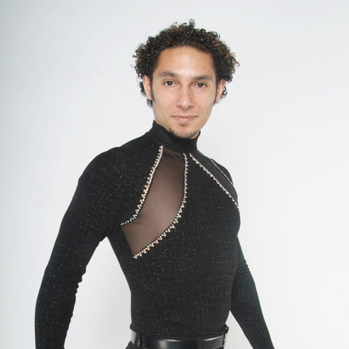 Crystal's Creations men's black Latin shirt