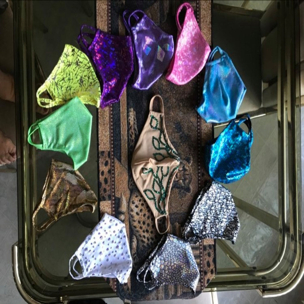 Crystal's Creations set of 11 hologram masks & one skin toned mask with Emerald green Swarovski rhinestone work