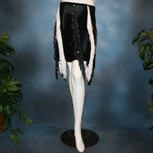 Load image into Gallery viewer, Crystal's Creations black & white fringy Latin skirt