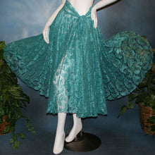 Load image into Gallery viewer, Crystal's Creations aqua lace ballroom skirt