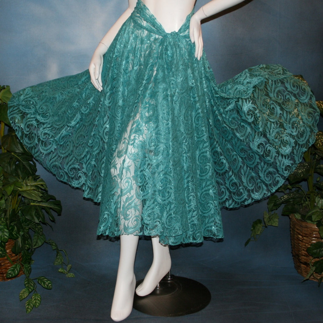 Crystal's Creations aqua lace ballroom skirt