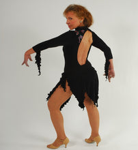 Load image into Gallery viewer, Crystal's Creations back view of black bodysuit & Latin skirt