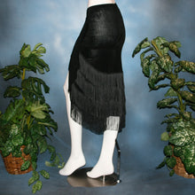 Load image into Gallery viewer, Crystal's Creations back view of Black fringy hip wrap Latin/rhythm skirt, was created of luxurious black solid slinky, with 4 rows of black chainette fringe.