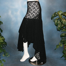 Load image into Gallery viewer, Crystal's Creations side view of Black lace Latin/rhythm skirt, 2 tier style, was created with yards of back stretch lace, with 2 full circles cut with sides higher, back longer on a hip base.