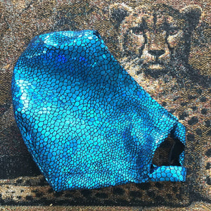 mask created of deep sea blue hologram lycra