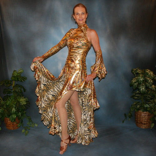 Crystal's Creations gold hologram tango dress with lot's of flounces