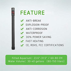 VIVOSUN 200W Aquarium Heater Submersible Titanium Fish Tank Heaters with Intelligent LED Temperature Display and External Temperature Controller