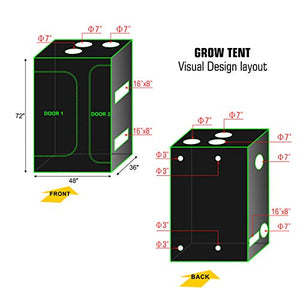"TopoGrow 48""x36""x72"" 600D Indoor Grow Tent"