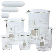 Load image into Gallery viewer, Glass Low Form Beaker Set with Magnetic Stir Bar Set, 5 Sizes - Borosilicate Glass