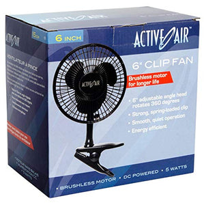 Active Air 5W Brushless Motor 6-Inch Clip On Fan (2 Pack)