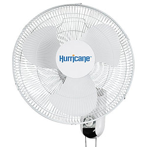Hurricane Wall Mount Fan 16 Inch, Classic Series, 90 Degree Oscillation 3 Speed Settings, Adjustable Tilt-ETL Listed, 16-Inch, White