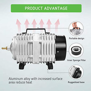 VIVOSUN Air Pump 1110 GPH 8 Outlet 50W 70L/min Commercial Air Pump