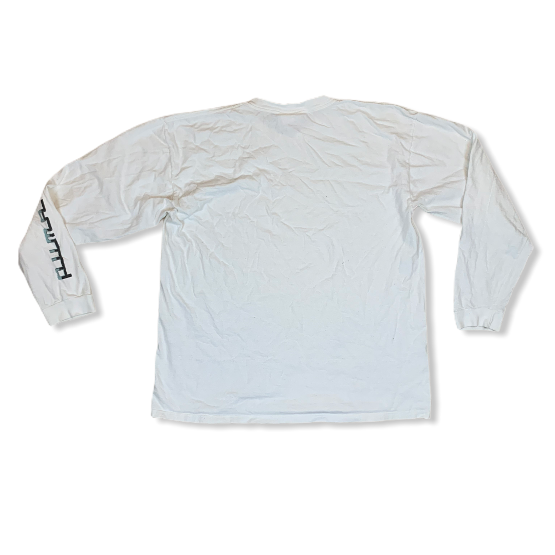 Y2K PUMA ESSENTIALS MENS WHITE LONGSLEEVE TSHIRT