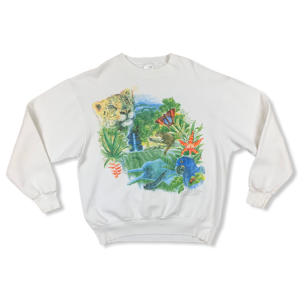 VINTAGE 90S RAINFOREST WILDLIFE MENS WHITE CREWNECK SWEATSHIRT