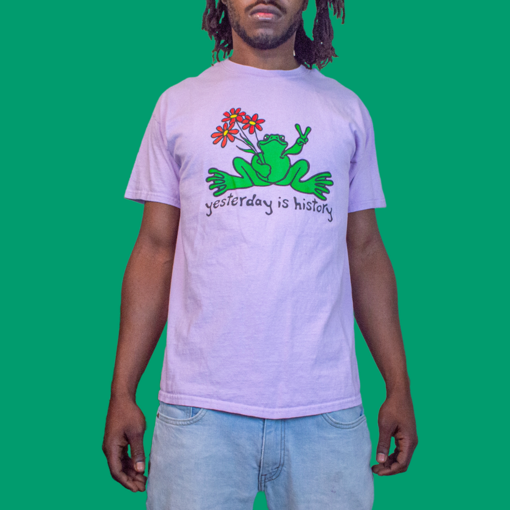 Vintage Peace Frogs Yesterday is History Mens Purple Tshirt L