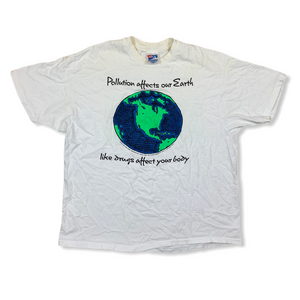 VINTAGE 90S DONT POLLUTE THE EARTH OR YOUR MIND MENS WHITE TSHIRT