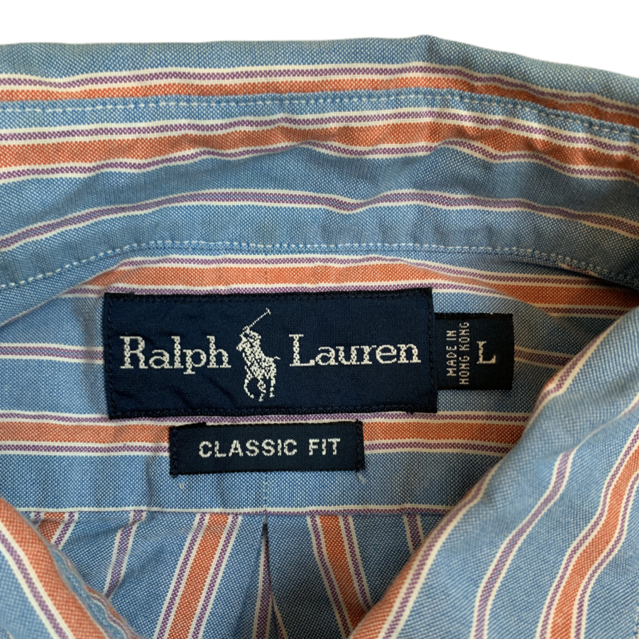 VINTAGE RALPH LAUREN POLO BLUE/ORANGE STRIPED MENS BUTTON UP SHIRT