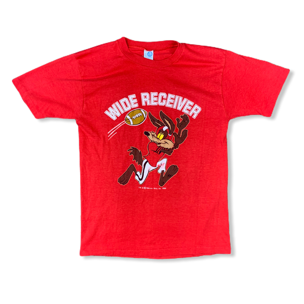 Vintage 1986 Wil E Coyote Wide Receiver Looney Tunes Mens Red Tshirt