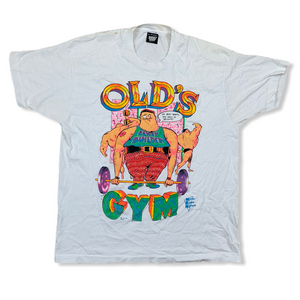 VINTAGE 90S OLDS GYM BAWDY BUILDER MENS WHITE TSHIRT