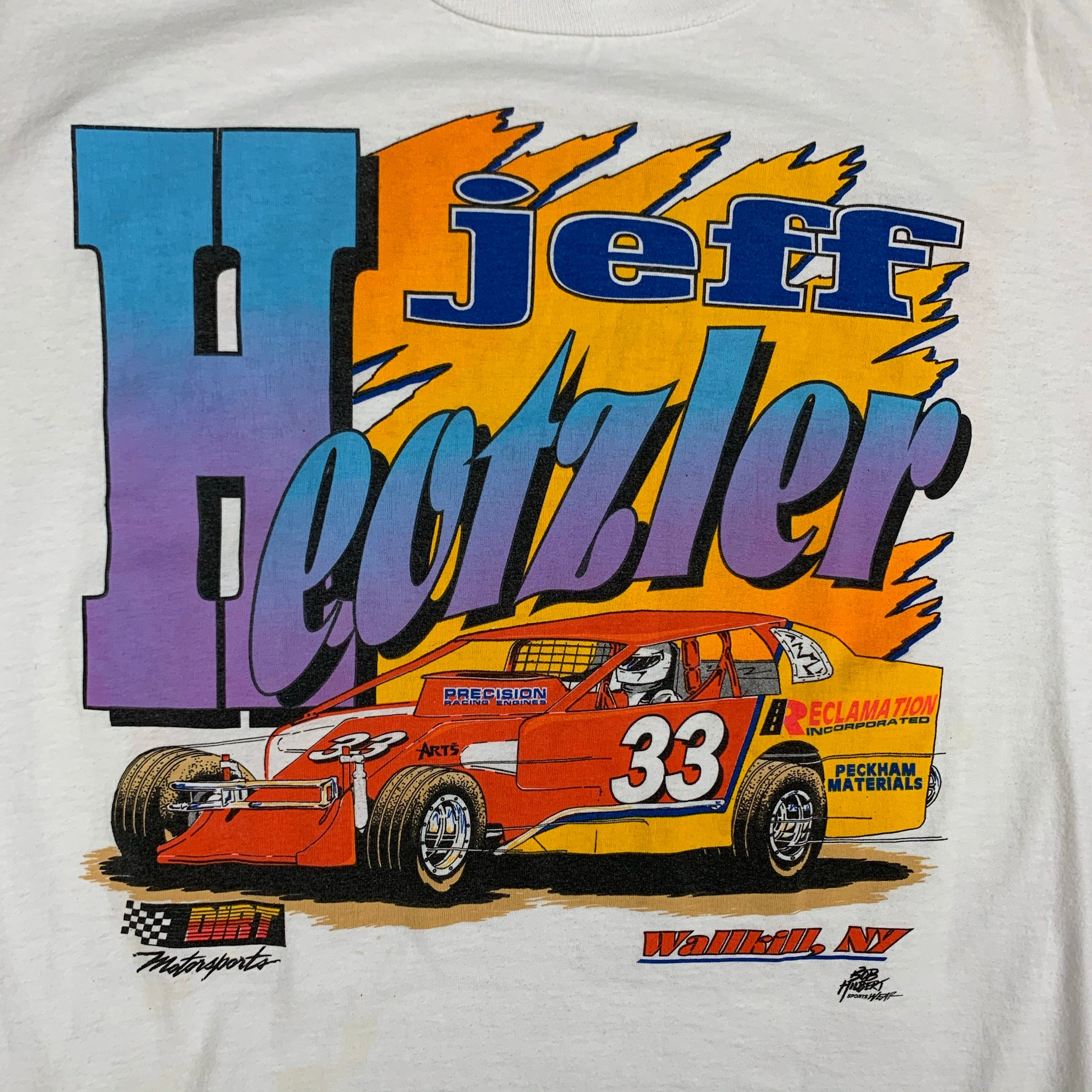 Vintage Jeff Heotzler Racing Double sided Mens White Tshirt L