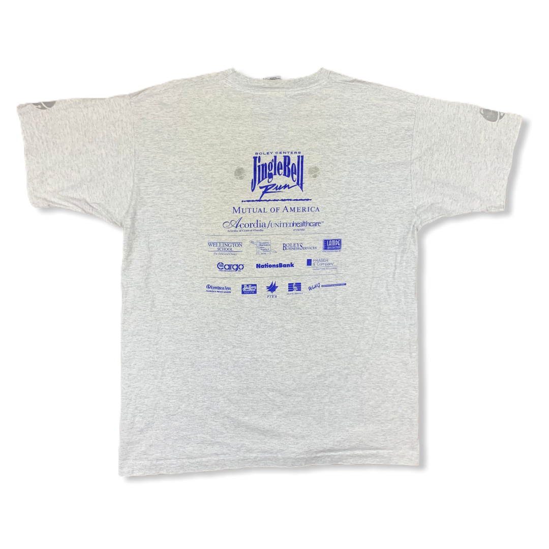 VINTAGE 1996 14TH ANNUAL JINGLE BELL RUN GRAY TSHIRT