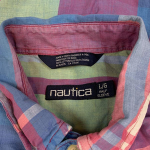 VINTAGE NAUTICA MULTICOLORED PLAID BUTTON UP SHIRT