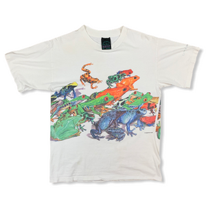 VINTAGE 90S HABITAT COLORFUL FROGS WHITE TSHIRT