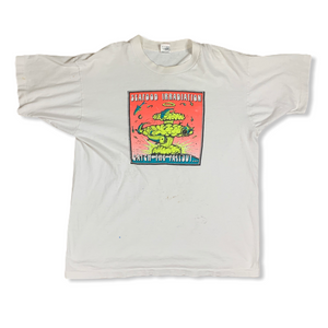 Vintage 90s Seafood Irradiation Catch The Fall Out Mens White Tshirt XL