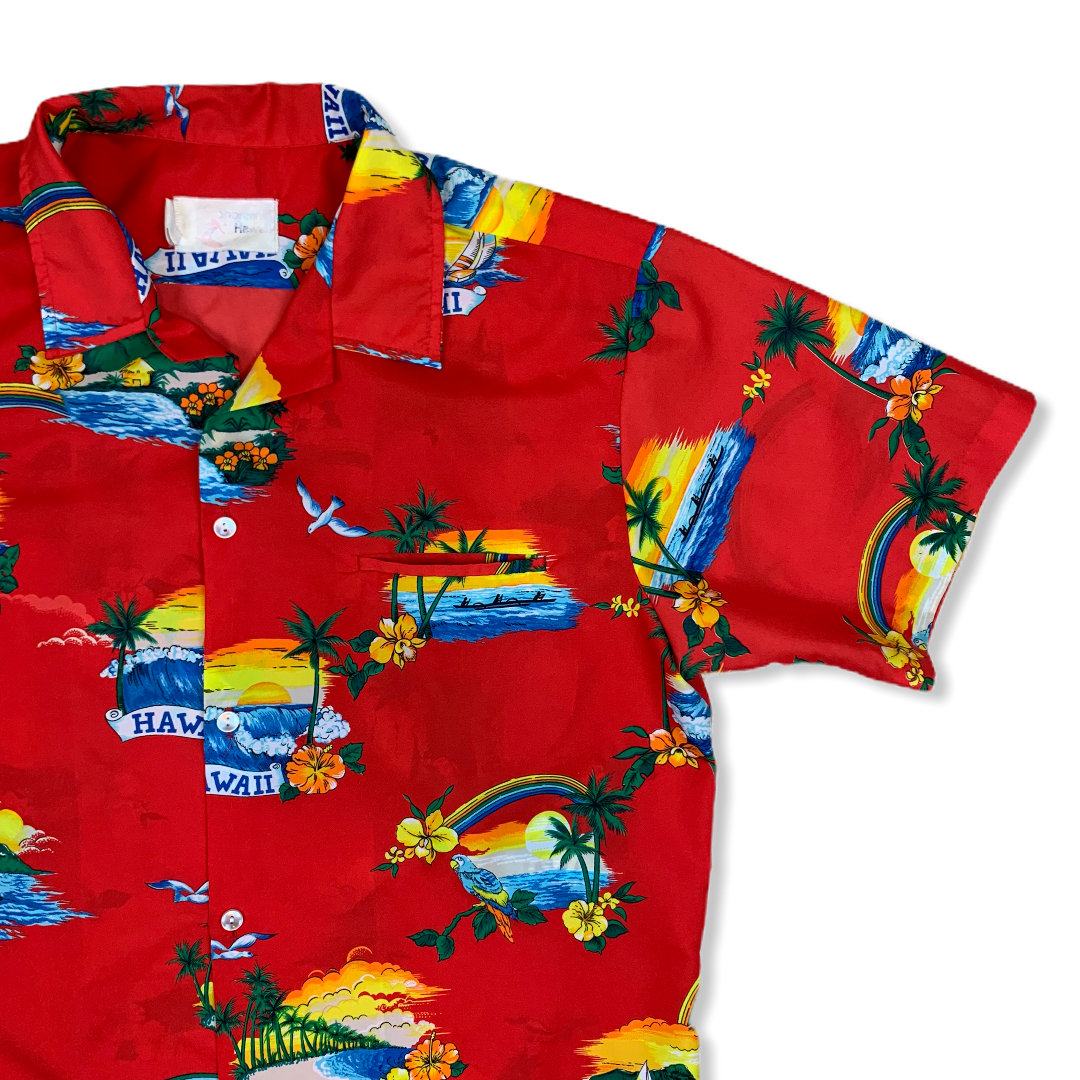 VINTAGE HAWAII BEACH VIBES MENS BUTTON UP SHIRT