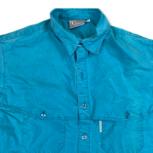 VINTAGE OUTBACK TRADING COMPANY MENS BLUE BUTTON UP SHIRT