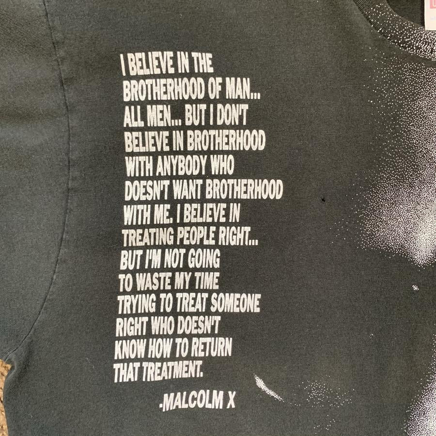 VINTAGE 90S 1992 OFFICIALLY LICENSED RARE MALCOLM X BROTHERHOOD QUOTE MENS BLACK TSHIRT