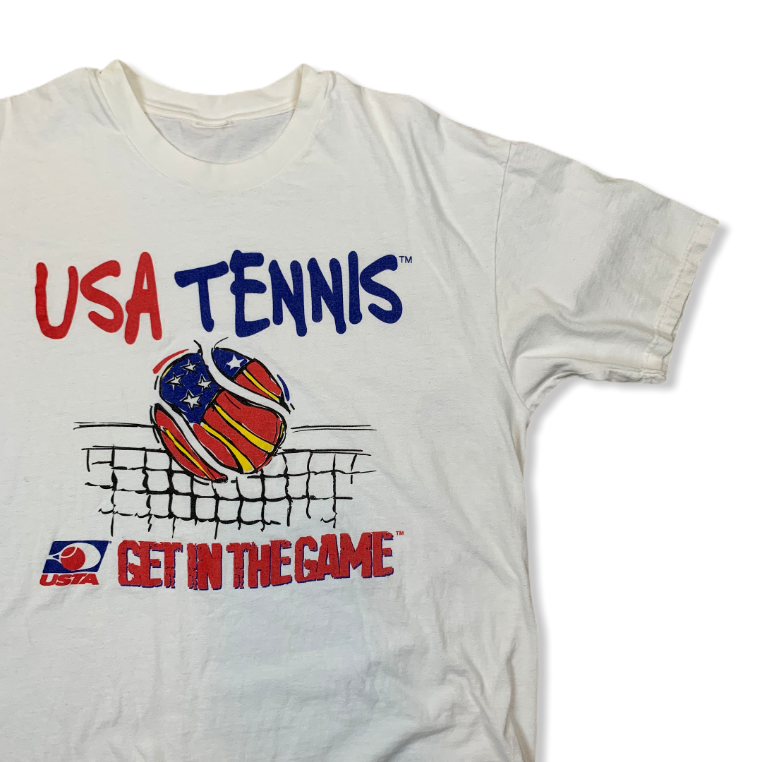 VINTAGE USA TENNIS GET IN THE GAME MENS WHITE TSHIRT