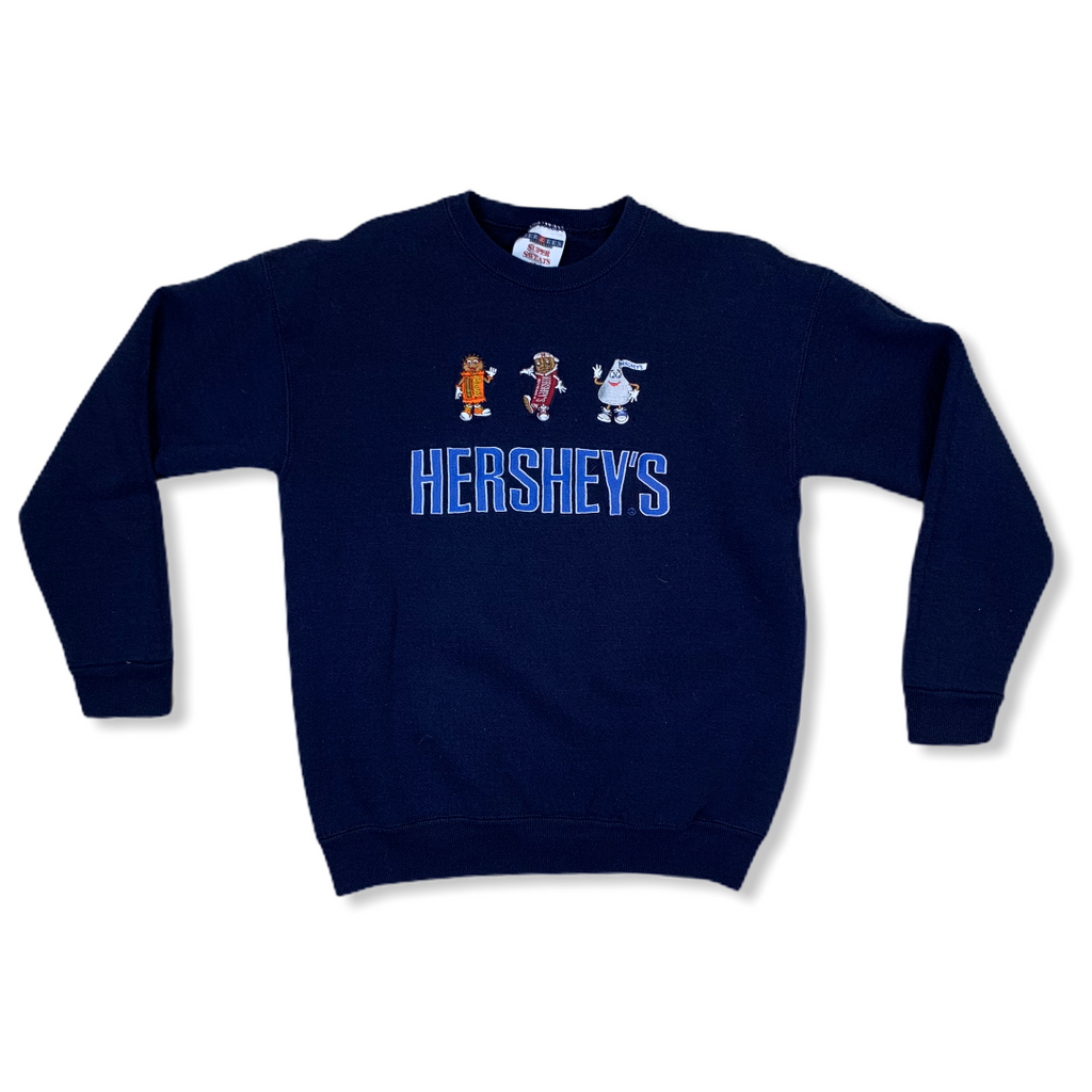 VINTAGE 90S HERSHEYS KISS & REESES EMBROIDERED BLUE SWEATSHIRT