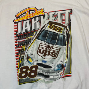 Y2K DALE JARETT NASCAR THE FASTEST PACKAGE IN TOWN MENS WHITE TSHIRT