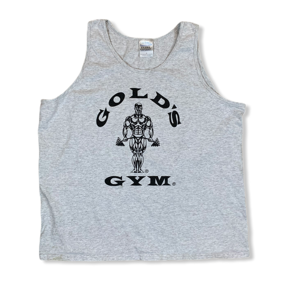 VINTAGE 90S GOLDS GYM MENS GRAY TANK TOP SHIRT