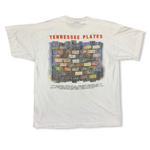 Vintage 1995 Mark Collie Country Music Tennessee Plates Mens White Tshirt L