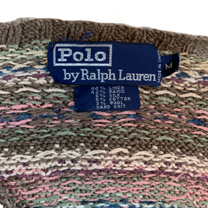 VINTAGE 90S POLO BY RALPH LAUREN KNIT BROWN/PINK SWEATER