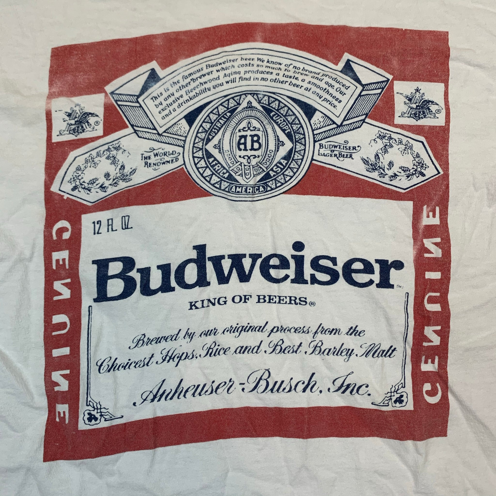 VINTAGE 90S BUDWEISER KING OF BEERS MENS WHITE TSHIRT