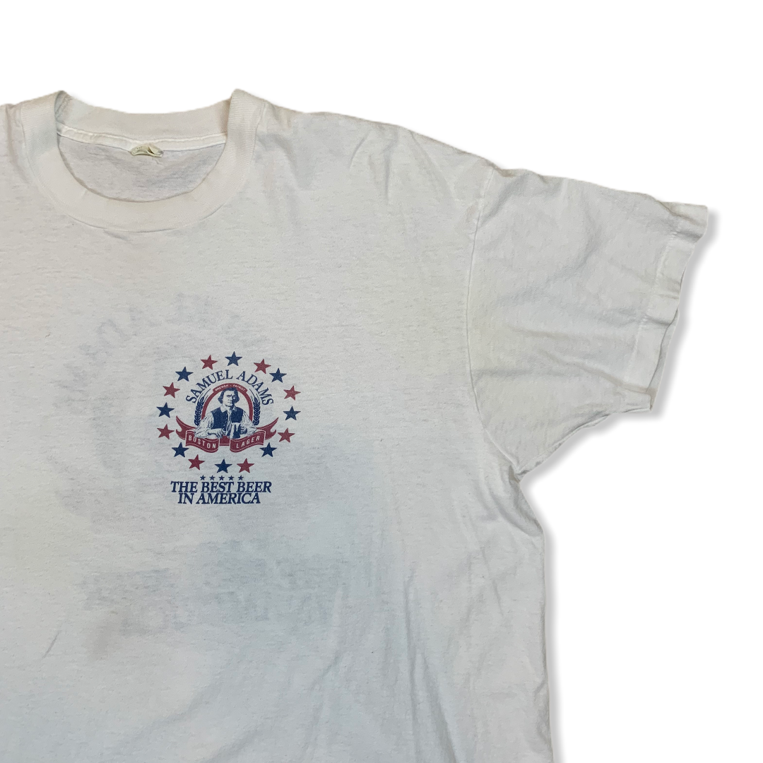 VINTAGE SAMUEL ADAMS BOSTON LAGER MENS WHITE TSHIRT
